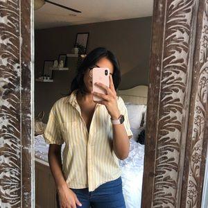 Zara pinstriped button up short sleeve top